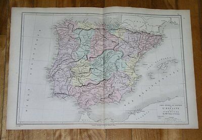 1873 Original Antique Map Of Spain And Portugal