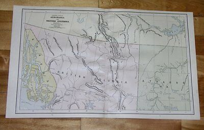 1890 Antique Map Of Northern British Columbia Yukon Alaska Panhandle Canada