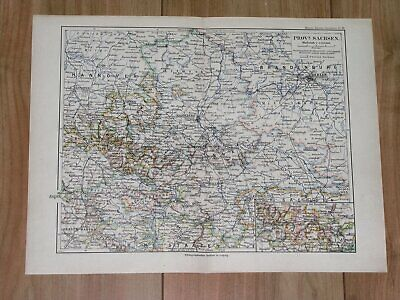 1892 Original Antique Map Of Saxony Sachsen Anhalt / Germany Berlin