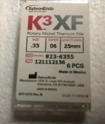 K3XF Rotary Nickel Titanium Files Size .35 Taper 06 Length 25mm