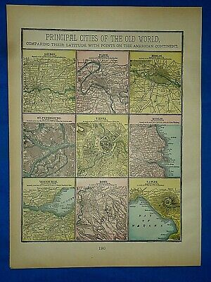 Vintage 1894 MAP CITIES of the OLD WORLD - VIENNA - DUBLIN Old Antique Original