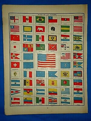 Vintage 1894 Atlas Illustration ~ FLAGS of NATIONS of the WORLD - OLD GLORY