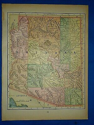 Vintage 1894 MAP ~ ARIZONA TERRITORY ~ Old Antique Original Atlas Map