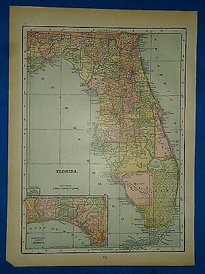 Bird/'s Eye View 1885 Tallahassee Florida Vintage Style City Map 20x30