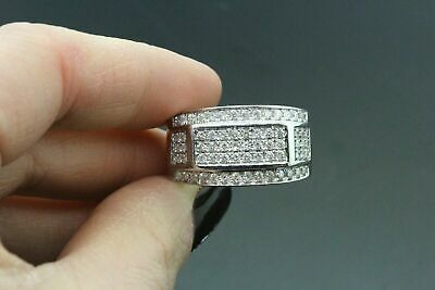 14k White Gold Finish 0.70 Ct Round Cut Diamond Cluster Engagement Wedding Ring.