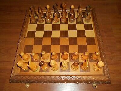 30cm Traditional Vintage Wooden Folding Chess Set Board Box With Lined Case
