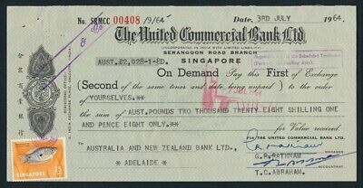 "Australia: Singapore 1964 United Comm Bank ""£A2028/1/8d DRAFT"" + Duty Stamps"