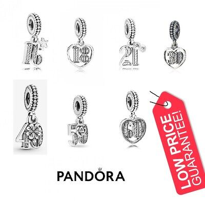 New Pandora 16Th 18Th 21St 30Th 40Th 50Th 60Th Age Birthday Anniversary Charms