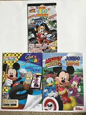 Disney's Mickey & Friends Coloring/Activity Books & Stickers, Lot Of 3, Like-New