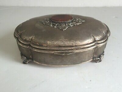 Antique 800 CHINESE Silver Dresser Jewelry Box Applied Agate on Cover w Marks