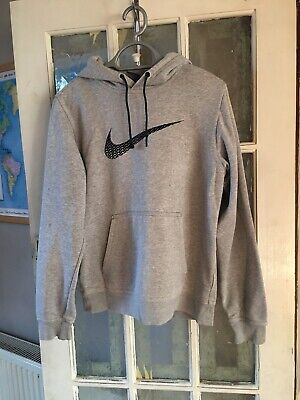 Mens Grey Nike Hoodie With Drawstring Hood Size Small