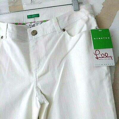 Lilly Pulitzer Vintage White Capris New with Tags Slacks Size 6 Palm Beach Fit