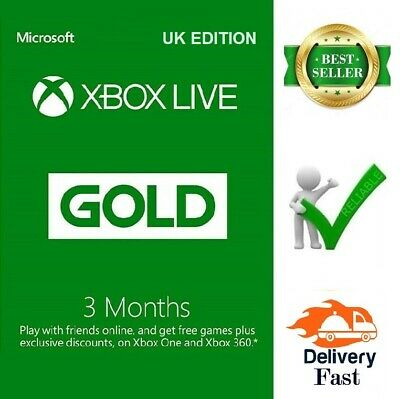 Xbox Live Gold 3 Month Membership Xbox 360 / Xbox One Uk **Fast Delivery**