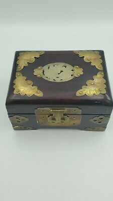 Vintage Chinese Cherry Wood Jewelry Box Carved Jade Inlay with Brass