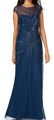 Adrianna Papell Womens Dress Navy Blue Size 8P Petite Gown Beaded $299 394