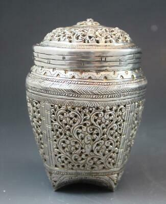 Early 20thC Burmese/Thai Sterling Silver Repousse Hand Chased Potpourri Jar