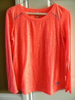 UNDER ARMOUR Girls T Shirt Top Long Sleeve Loose Fit Orange YXL