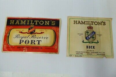 Vintage Australia Hamilton Hock Wine Port Paper 1 Gallon Bottle Labels
