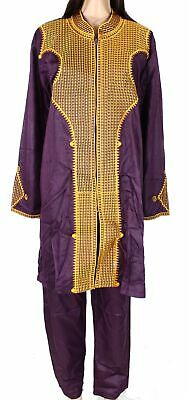 HD Womens Two-Piece Pant Set Purple Size XL Ethnic Embroidered Tunic $55- 458