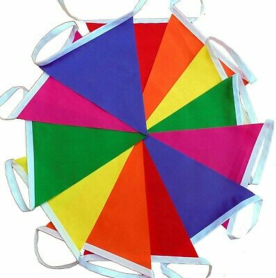 Rainbow fabric bunting 12 flags /  3 mtrs  red orange pink green yellow purple