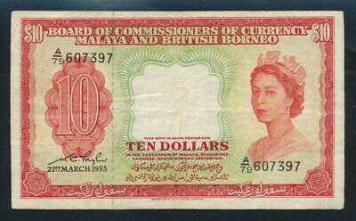 "Malaya & British Borneo: 21-3-1953 $10 ""SCARCE QEII NOTE"". P3a NVF - Cat VF $240"