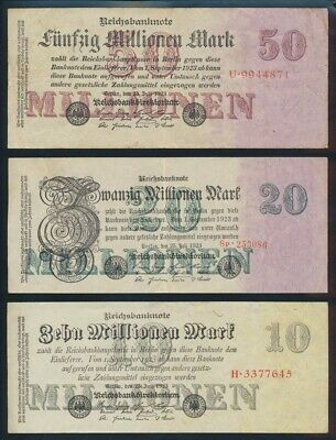 """Germany: Weimar 1923 1 to 50 Million Mk """"SET OF 5"""". P94-98a F to EF - Cat VF $93"""