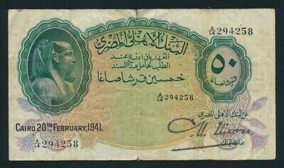 Egypt: 4-3-1941 50 Piastres Sig Nixon (Large). Pick 21b F - Cat VF $267, VG $133