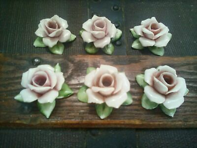 Antique lot 6 Capodimonte Rose Porcelain Birthday Cake Candle Holders Italy