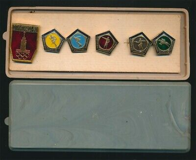 Russia (USSR): 1980 Moscow Olympic Games Pins Set of 6 Cased