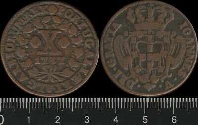Portugal: 1737 10 Reis 1/2 Vinten, copper. Very collectable