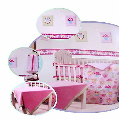 10 Pce Pink Nursery Baby Crib Comforter, Fitted, Bumper, Blanket Set