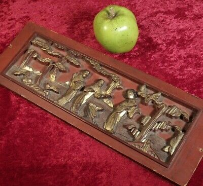 ANTIQUE c1890 CHINESE HAND CARVED WOOD &  LACQUERED PANEL of FIGURES & TREES