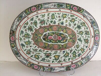 Vintage Antique Chinese Export Porcelain Famille Verte Meat Strainer Tray 15""
