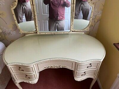 French Louis Shabby Chic Dressing Table Triple Mirror + Matching Stool good cond
