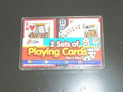 GRAFIX 2 Sets of Classic Playing Cards Decks + 4 Dice Poker Casino Children Game