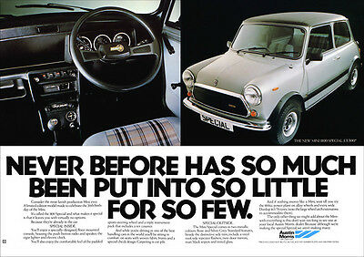 MINI AUSTIN MORRIS 1100 SPECIAL RETRO A3 POSTER PRINT FROM CLASSIC 80's ADVERT
