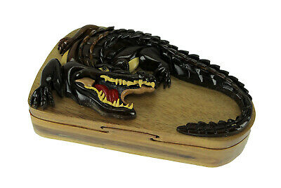 Hand Carved Wooden Snapping Alligator Trinket Puzzle Box