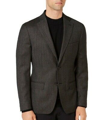DKNY Mens Blazer Brown Size 38 Short Two Button Wool Notch-Collar $450 223