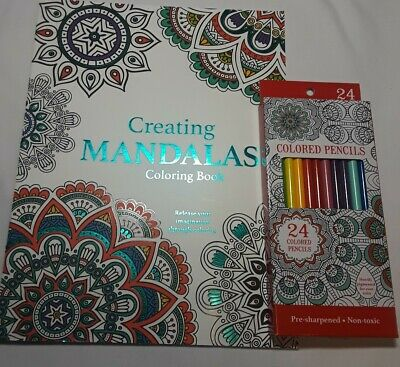Coloring For Tranquility Adult Book Brand New And 24 Count Art Colored Pencils.