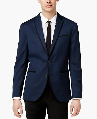 Reaction Kenneth Cole Blue Mens Blazer Size 40 Textured Two Button Slim $295 209