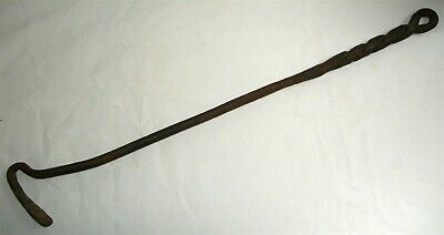 Antique Early Hand Forged Wrought Iron Fireplace Tool Twisted Handle Poker Hook