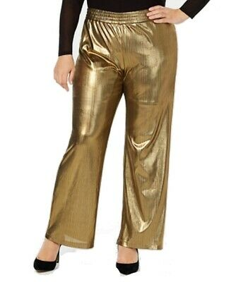 NY Collection Womens Pants Gold Size 2X Plus Dress Wide-Leg Stretch $54 001
