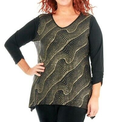 NY Collection Womens Blouse Black Gold 3X Plus Glitter Sharkbite-Hem $49 159