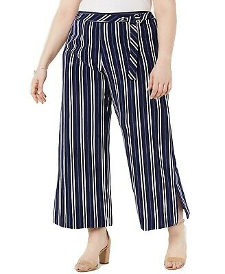 NY Collection Womens Pants Blue Size 3X Plus Petite Striped Stretch $54 151