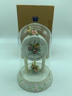 Vintage Porcelain Avon Collectible Hummingbird Anniversary Clock 2002 With Box