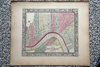 1864 Rare Antique Mitchell Atlas Map Of New Orleans-Handcolored