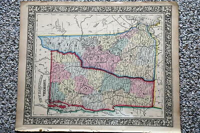 1864 Rare Antique Mitchell Atlas Map Of New Hampshire-Vermont-Handcolored