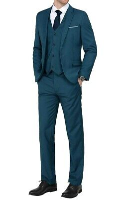 MAGE MALE Mens Suit Blue EU Size 3XL 3 Piece Slim-Fit One-Button $128- 844