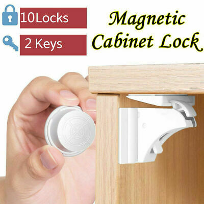 NEW 10X Magnetic Cabinet Locks Baby Safety Invisible Child Proof Cupboard D M4X4
