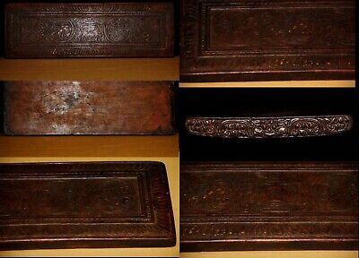 Wonderful 16th Century Old Antique Tibet Buddhism Carved Wooden Sutra Book Cover